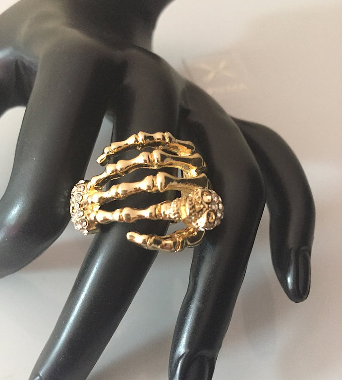 Gold Quirky Crystal Skull & Claw Stretch Ring