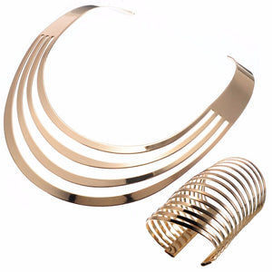 Gold Super Shine Collar / Choker Necklace & Cuff Bracelet Set