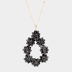 ELEGANT LONG Gold Black Teardrop Flower Jet Crystal Necklace