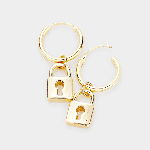 UNUSUAL Quirky 14kt Gold Filled Lock Key Metal Hoop Earrings