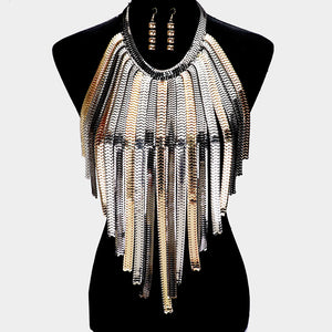 STATEMENT Gold Black Silver Omega Chain Bib Body Necklace Set