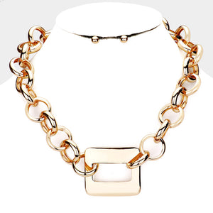 ON TREND Statement Gold Circle Link Rectangle Collar Necklace Set