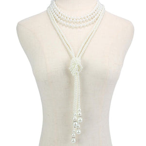 Statement Silver Cream Pearl Layered Long Choker Necklace