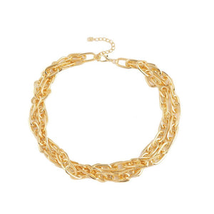 Statement Urban Glam Gold Layered Chain Link Necklace
