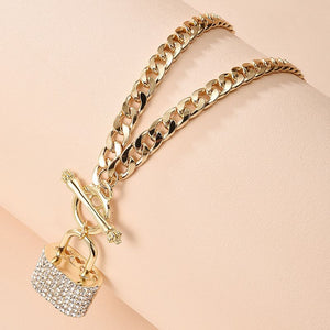Gorgeous Statement Gold Crystal Charm Lock Curb Necklace