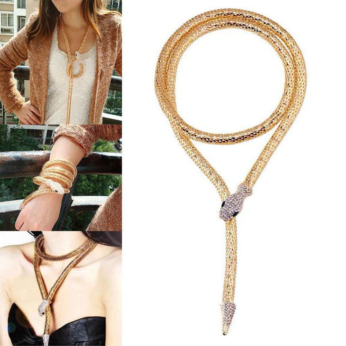 HOT Celeb Gold Crystal Collar Choker Long Flexi  Multi Way Snake Necklace