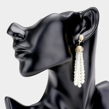 UNUSUAL Statement Long Gold Cream Pearl Tassel Earrings