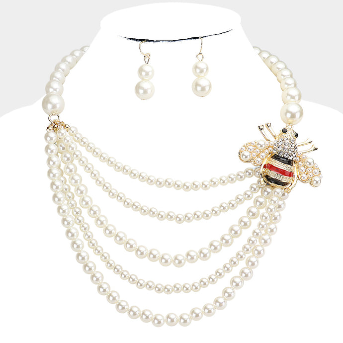STATEMENT Gold Cream Pearl Honey Bee Bib Cocktail Necklace Set