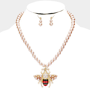 STATEMENT Gold Brown Pearl Honey Bee Collar Cocktail Necklace Set