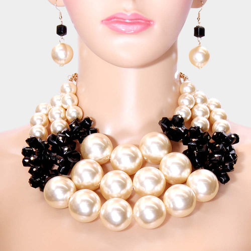 COUTURE Statement Gold Pearl Cream Black Collar Necklace Set