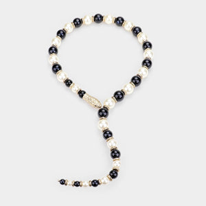 STATEMENT SNAKE Black Cream Pearl Choker Long Open Necklace Set