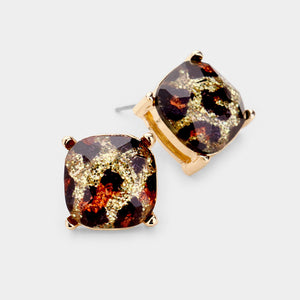 GLAM Gold Glitter Stone Crystal Animal Leopard BIG Stud Earrings