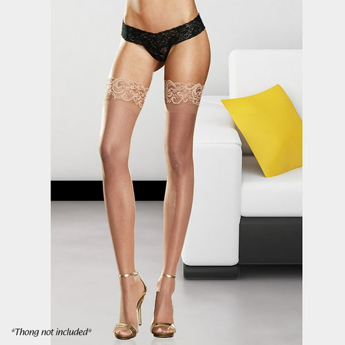 Premium Quality Neutral Nude Lace Top Hold Ups Stockings