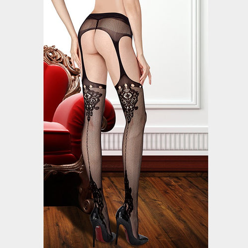 Quality Lace Fishnet Black Seam Attached Garter Lace Stockings