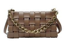 VEGAN LEATHER Tan Brown Braided Chain Bella Shoulder Bag Handbag