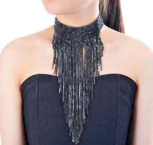 GLAM Black Pave Crystal Choker Cocktail Bib Necklace