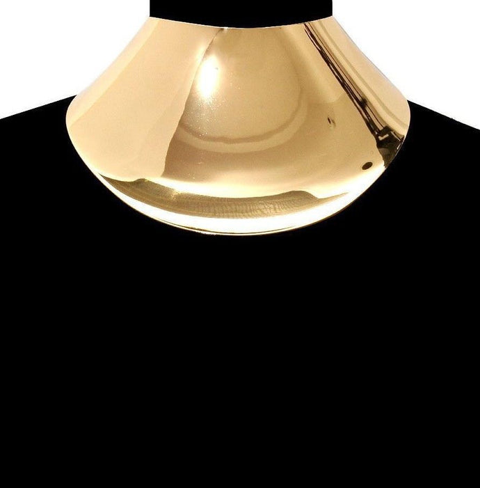 LUXE Celeb Statement Gold Oversized Curved Cuff Choker