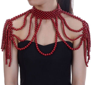 LUXE Celeb Statement Red Pearl Full Shoulder Necklace Body Chain