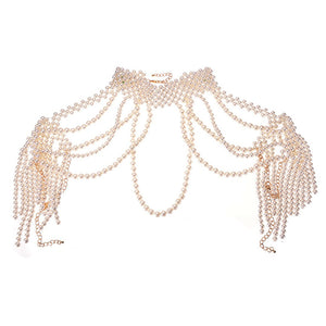 LUXE FABULOUS Statement Gold Cream Full Shoulder Necklace Body Chain