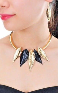 Beautiful Gold Black Leaf Light weight Choker Collar Necklace Set