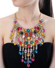 Whimsical Gold Multi Vibrant Crystal Tassel Cocktail Necklace