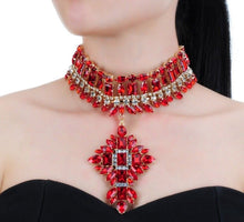 Gold Siam Red Crystal Glam Choker Cocktail Necklace