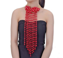 LUXE Fabulous Statement Gold Red Pearl Bib Choker Necklace