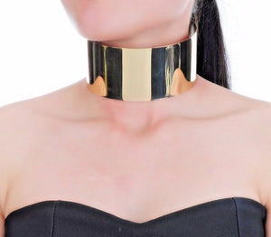 Celeb Statement Gold Oversized Super Shine Cuff Choker Necklace
