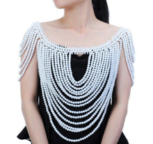 Statement White Bead Front & Back Shoulder Necklace Body Chain