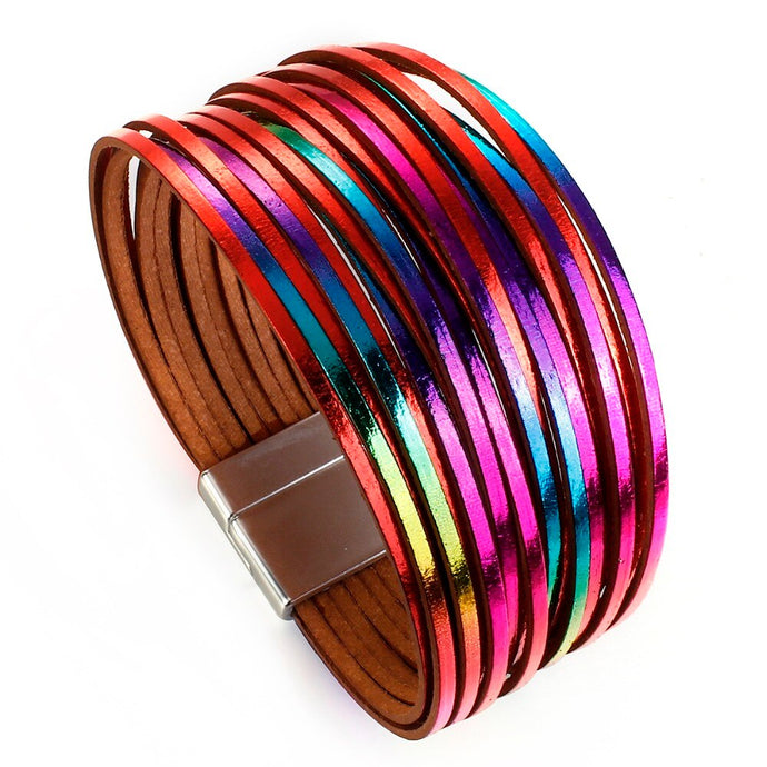 Layered Silver Multi Coloured Super Shine leather Magnetic Bracelet