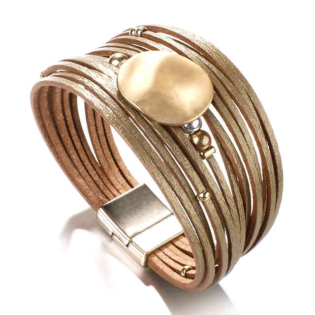 Layered Gold Super Shine leather Magnetic Fastening Bracelet