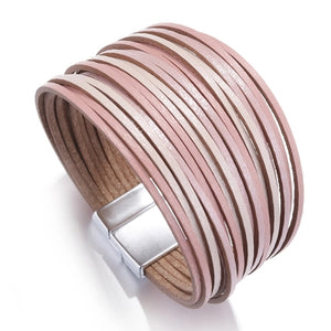 Layered Silver Pink Shades Super Shine leather Magnetic Bracelet