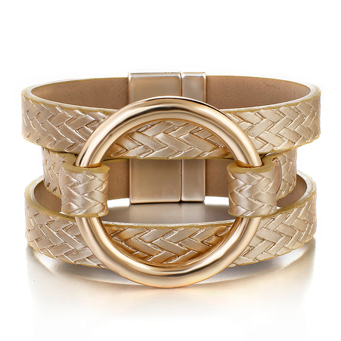 ELEGANT Gold Leather Metal Ring Magnetic Fastening Bracelet