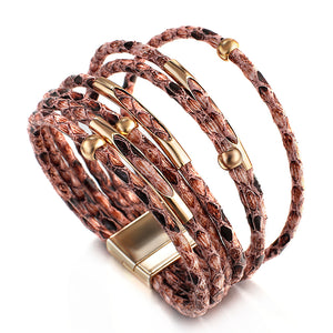 Layered Gold Pink leather Snake Magnetic Fastening Bracelet