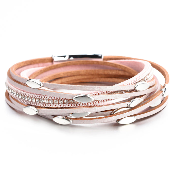 Layered Silver Pink leather Charms Magnetic Fastening Bracelet