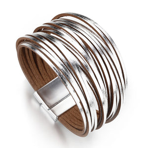 Layered Silver Super Shine leather Magnetic Fastening Bracelet