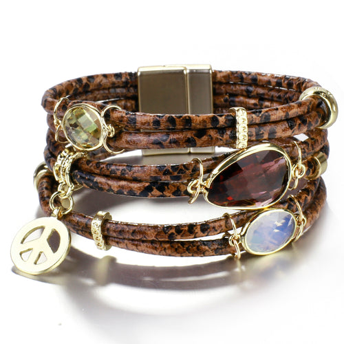 Layered Gold Brown Leather Snake Crystal Magnetic Bracelet