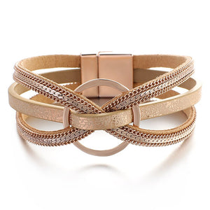 Layered Rose Gold Cross Metal Ring Leather Magnetic Bracelet