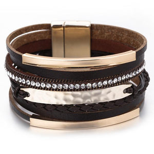 Layered Gold Black leather Bar Crystal Magnetic Bracelet