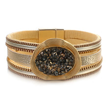 Layered Gold Beige leather Resin & Crystal Magnetic Bracelet