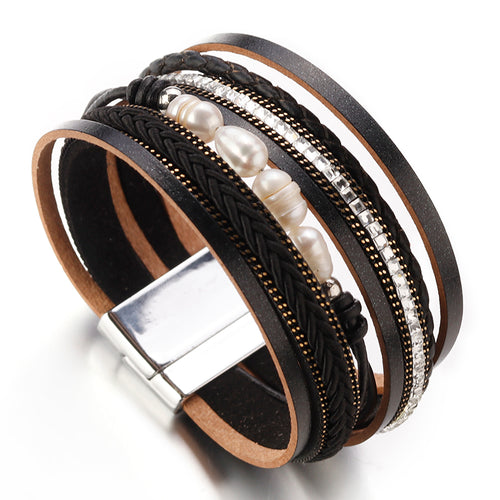 Layered Silver Black Leather Pearl Crystal Magnetic Bracelet