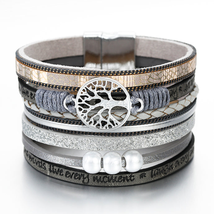 Layered Silver Grey leather Tree of Life Pearl Magnetic Bracelet