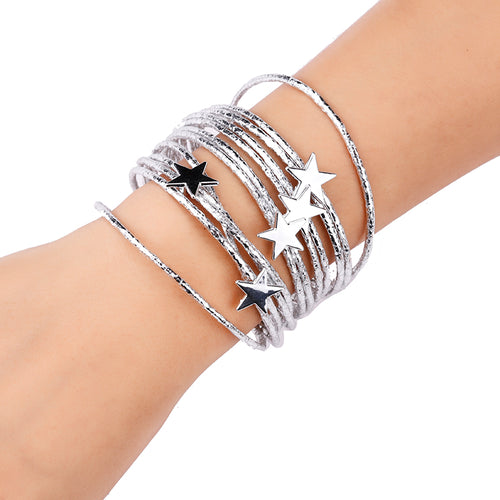 Multi Layered Silver Super Shine leather Star Magnetic Bracelet