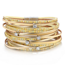 Layered Gold Yellow Super Shine leather Magnetic Bracelet