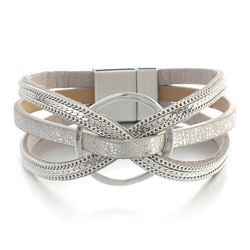 Layered Silver Cross Metal Ring Leather Magnetic Bracelet