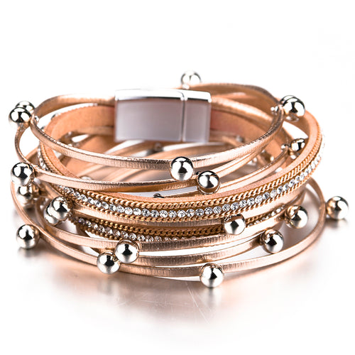 Layered Rose Gold Super Shine leather Silver Magnetic Bracelet