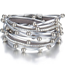 Layered Super Shine leather Silver Magnetic Wrap Bracelet