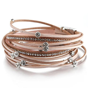 Layered Silver Pink leather Crystal Magnetic Fastening Bracelet