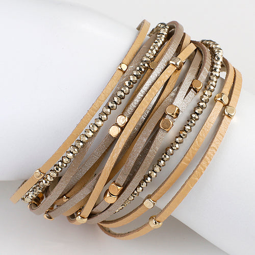 Layered Gold Nude leather Crystal Bead Magnetic Bracelet
