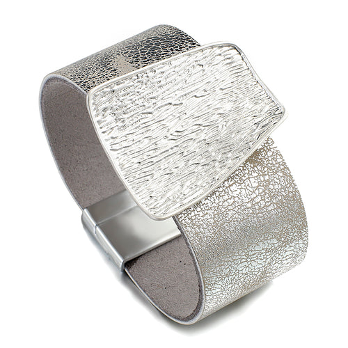 ELEGANT Silver Leather Etched Metal Magnetic Fastening Bracelet